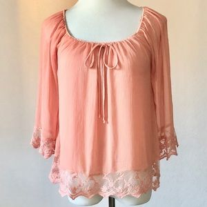 Forever 21 Lace Trimmed Boho Chiffon Blouse